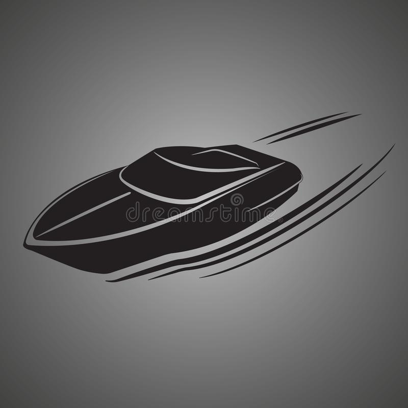 Speedboat isolated vector illustration. Luxury and expensive boat. Fast tourist vessel stock illustration