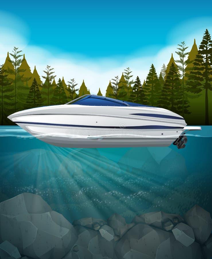 A speedboat in the lake. Illustration stock illustration