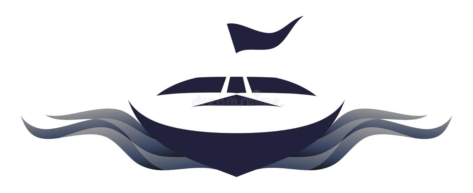Speedboat Logo Symbol Illustration. Logo of a speedboat from the front view with a flag on top vector illustration