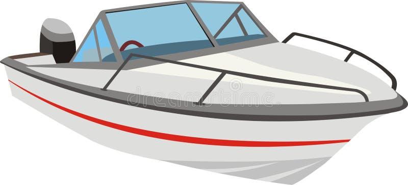 Speedboat or motorboat. 3D illustration of a speedboat or motorboat with and outboard motor stock illustration