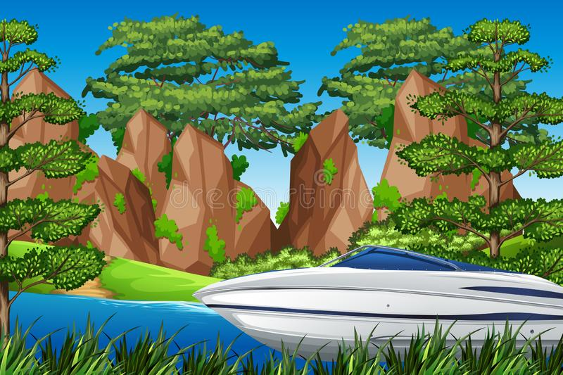 A speedboat in the nature. Illustration royalty free illustration