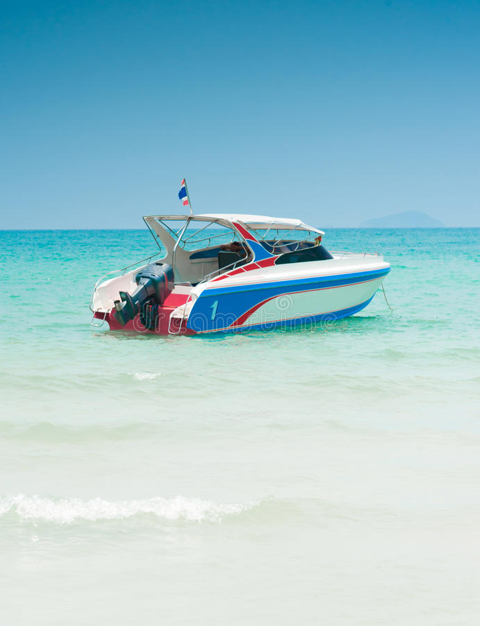 Speedboat navigating in the Gulf of Thailand Sea stock photo