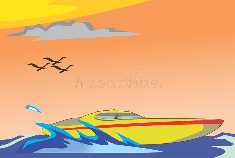 Speedboat. A speedboat that rode on the beach in the afternoon royalty free illustration