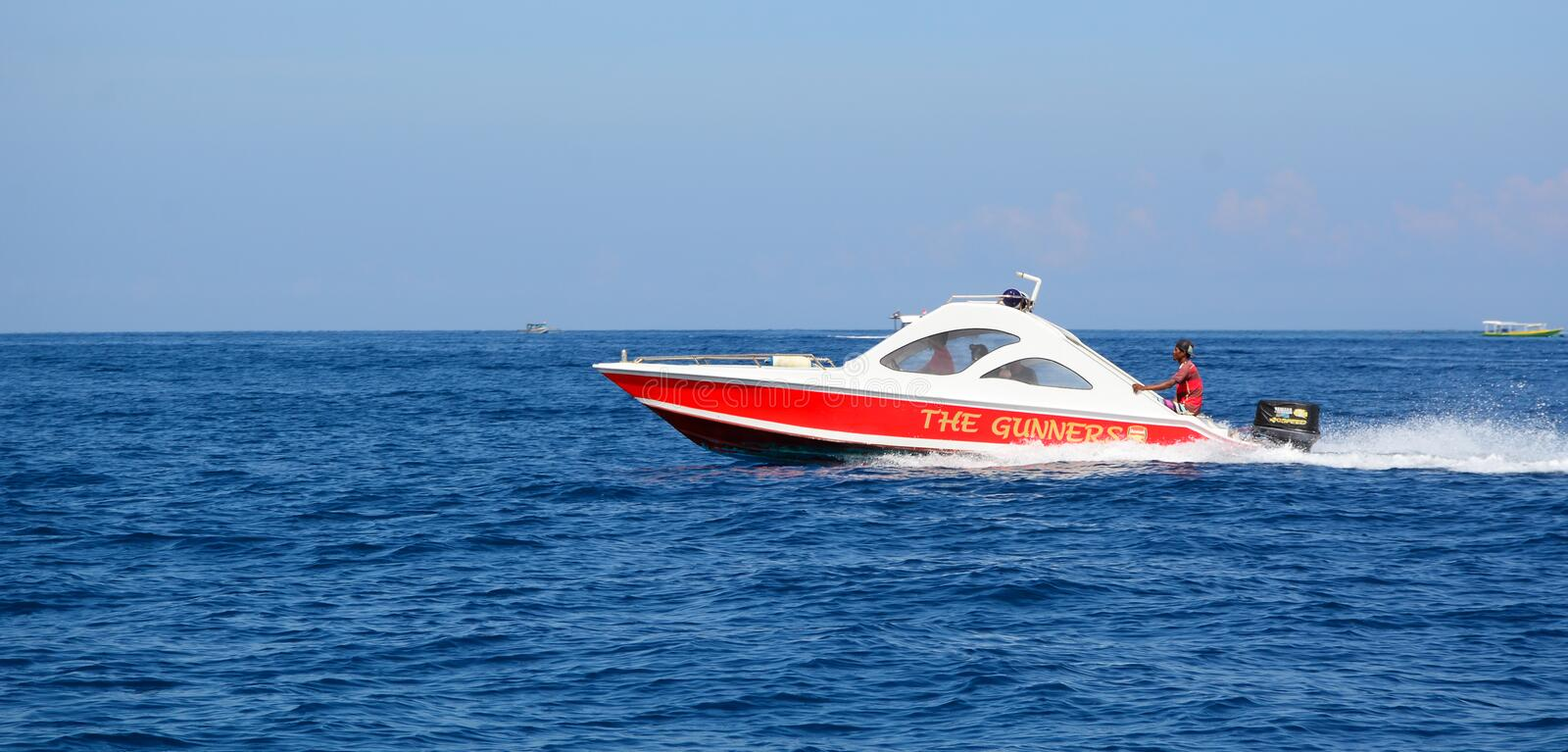 A speedboat running on the sea in Bali, Indonesia stock image