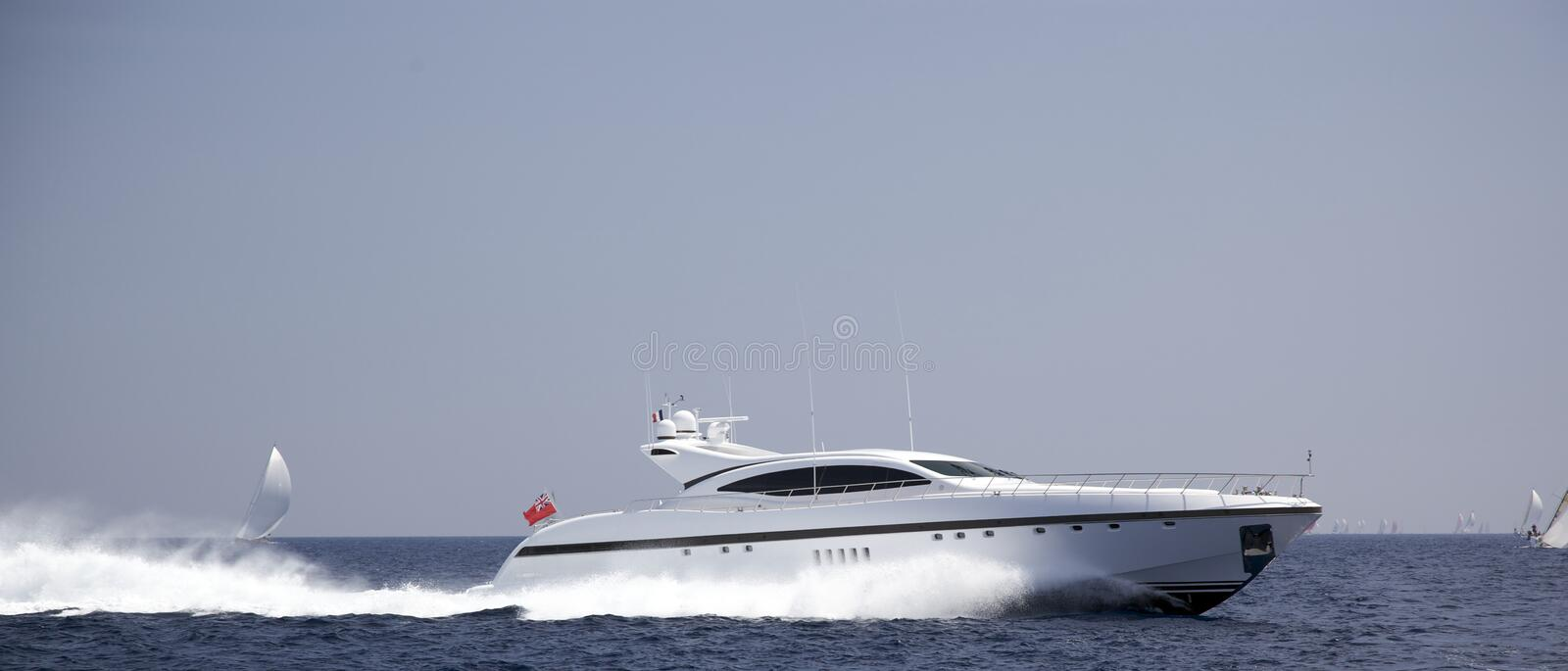 Speedboat in the sea royalty free stock photography