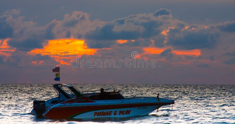 Speedboat at sunset, Andaman sea. royalty free stock photography