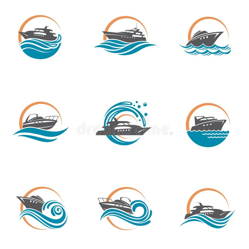 Speedboat and yacht icons. Collection of speedboat and yacht icons on waves vector illustration