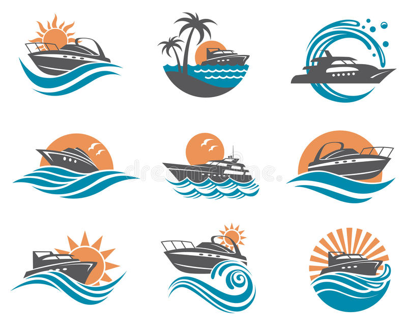 Speedboat and yacht icons. Collection of speedboat and yacht icons on waves stock illustration
