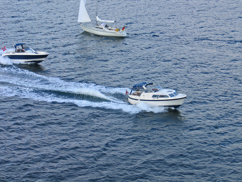 Speedboats at sea. Leisure time activity stock photo