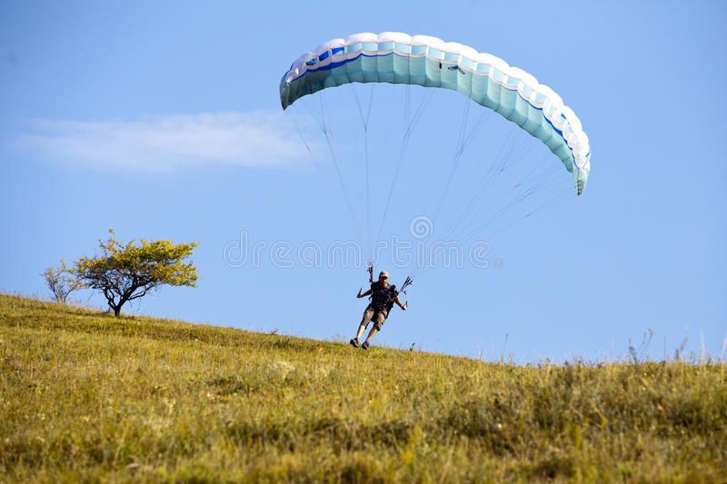 Speedfly. Fast and low flying lunched by foot royalty free stock photography
