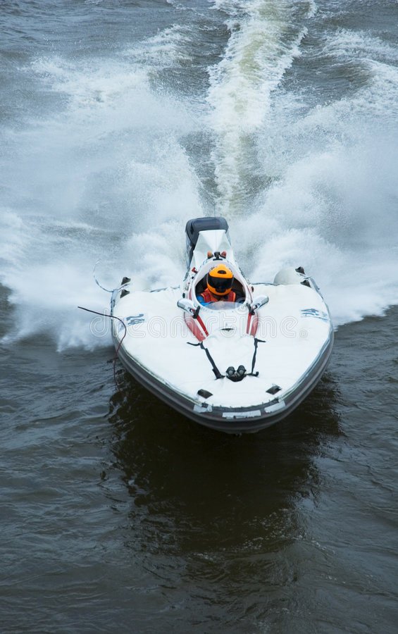 Speeding. Picture of boat race stock photography