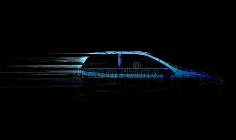 Speeding car. A speeding blue car illustration