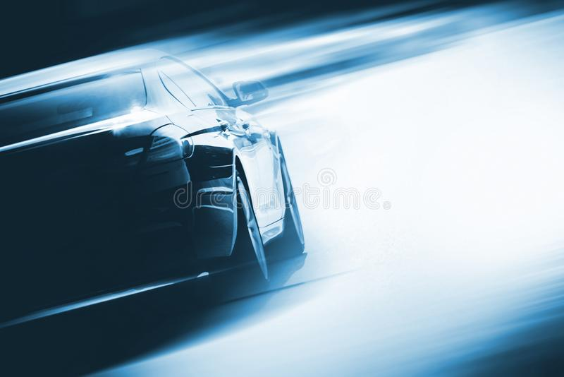 Speeding Car Background. Photo Concept. Vehicle on a Road. Motorsport Backdrop Concept with Copy Space royalty free stock photo