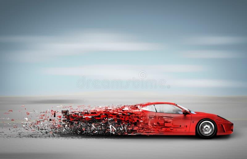 Speeding car disintegrating stock illustration