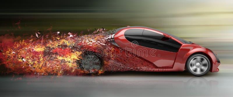 Speeding car disintegrating royalty free illustration