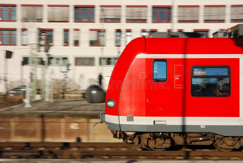 Speeding commuter train stock images