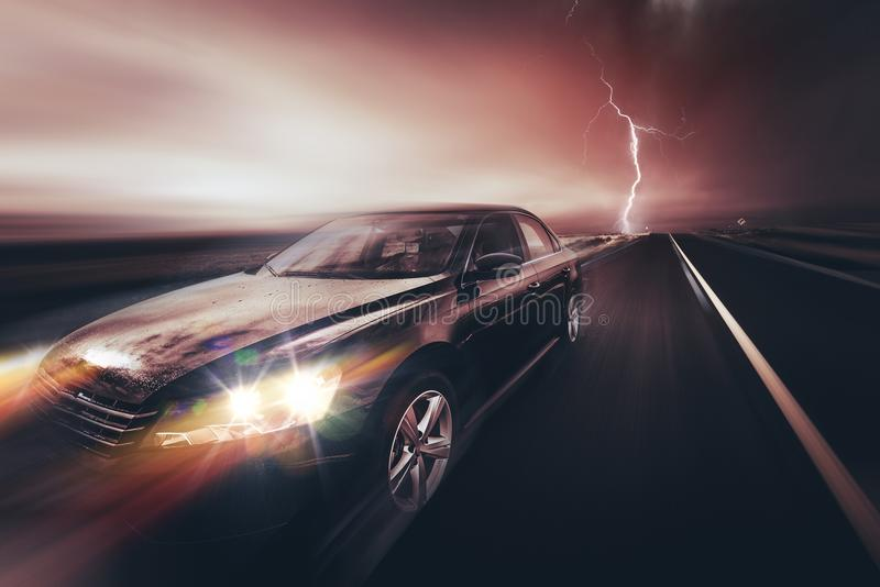 Speeding Compact Car. And the Storm. Car on the Highway royalty free stock photography