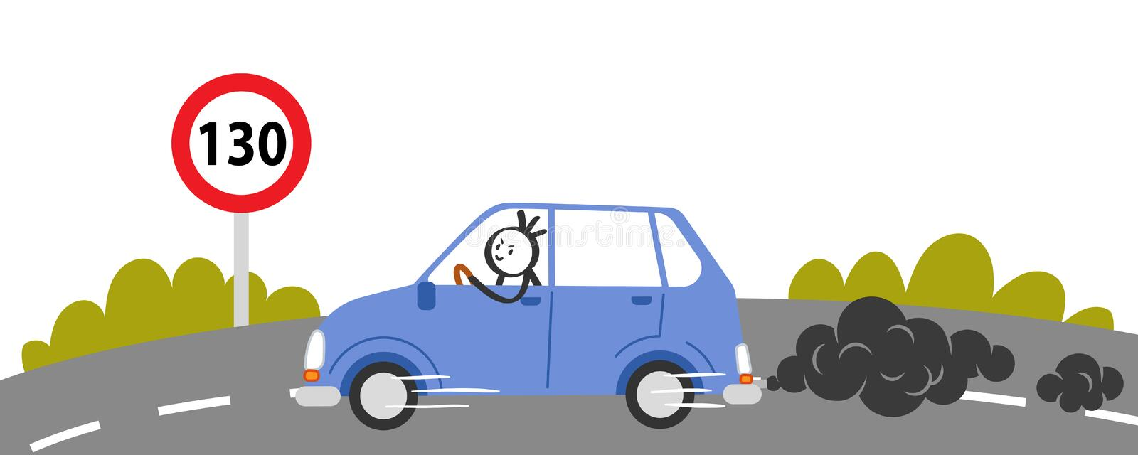 Speeding driver on the highway passing street limit sign. Stick man in blue car driving carelessly vector illustration