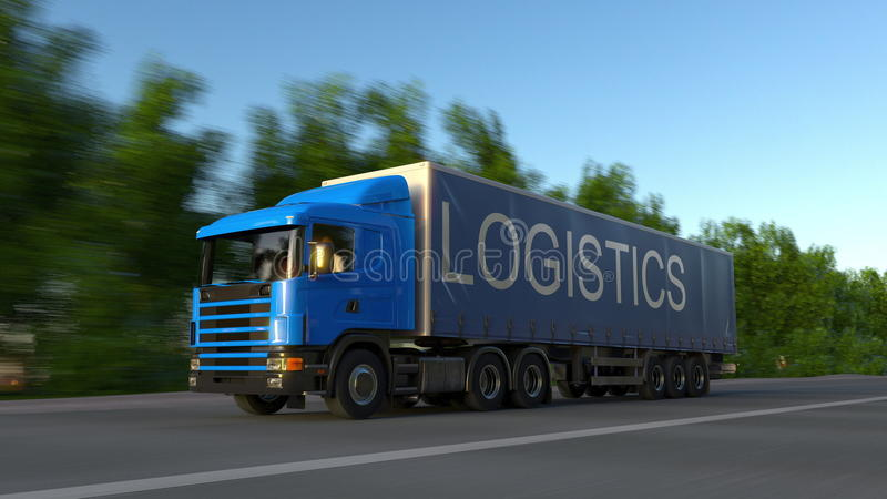 Speeding freight semi truck with LOGISTICS caption on the trailer. Road cargo transportation. 3D rendering stock photo