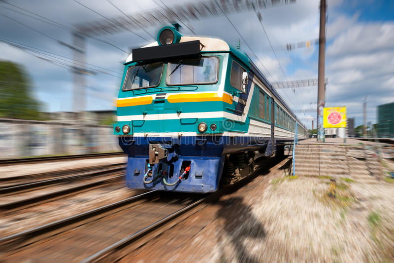 Speeding passenger train royalty free stock photo