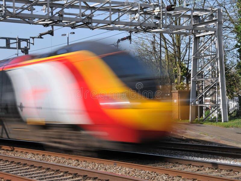 Speeding pendolino train stock photos