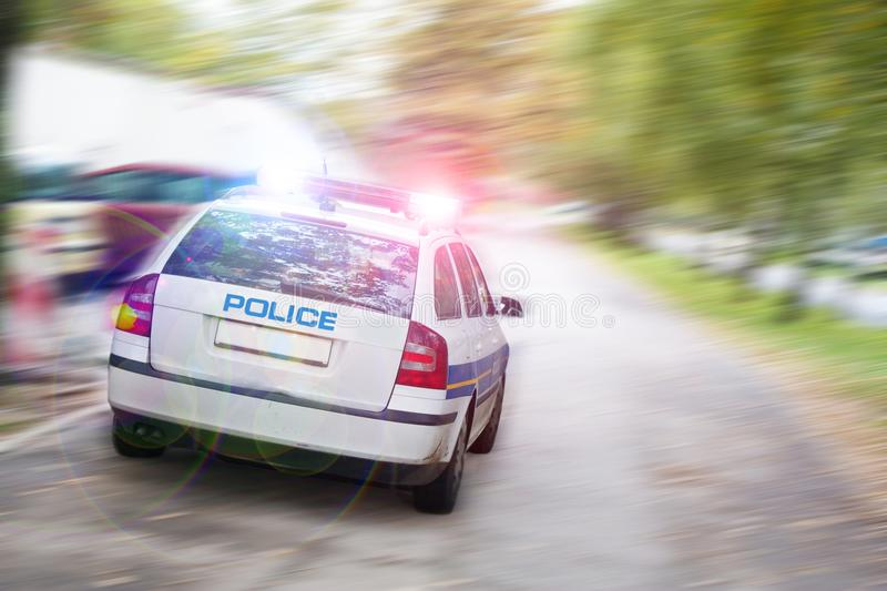 Speeding police car. In the city stock photography