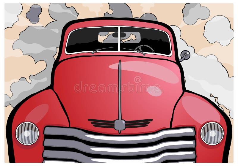 Speeding retro car vector illustration