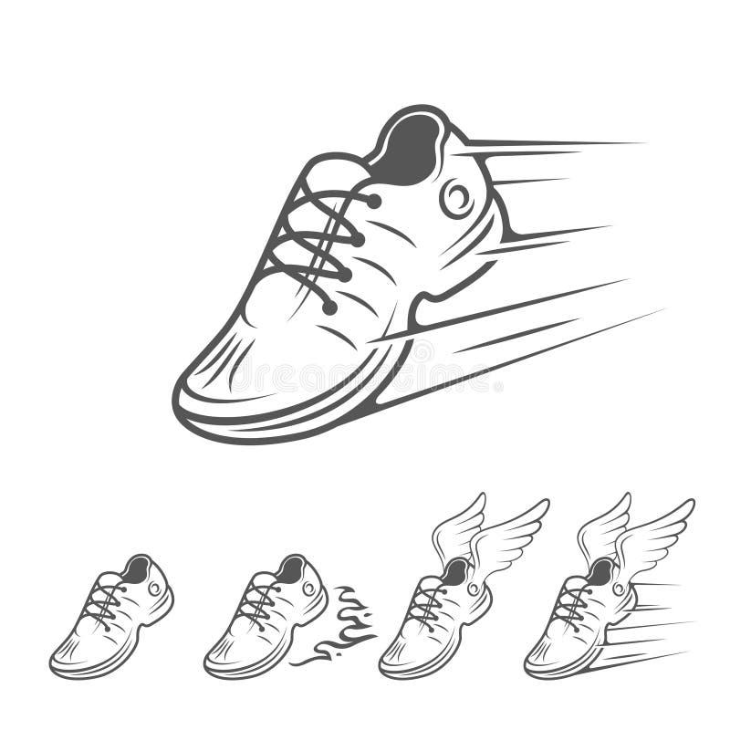 Speeding running shoe icons in five variations stock illustration
