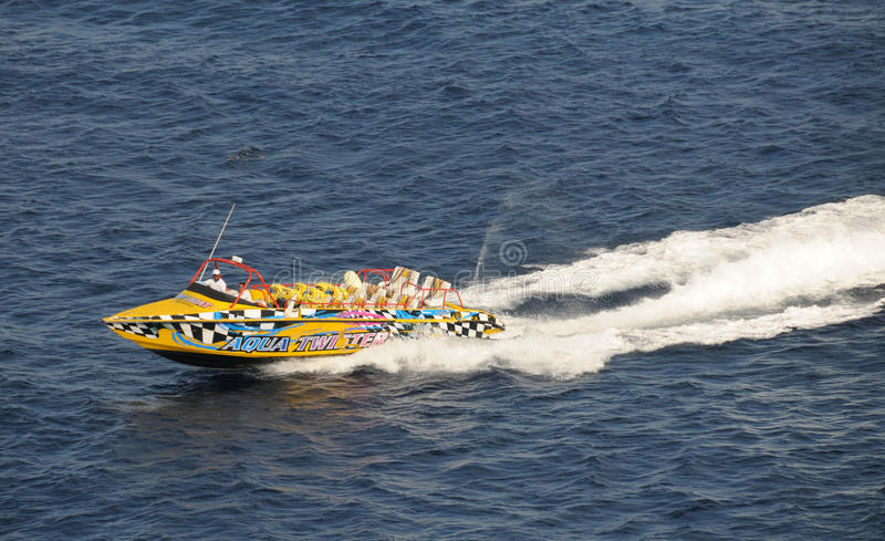 Speeding tour boat royalty free stock photography