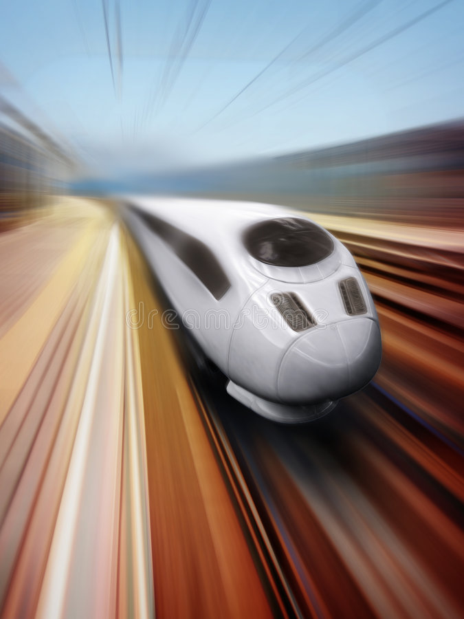Speeding train. Front Side Train with Blur Effect