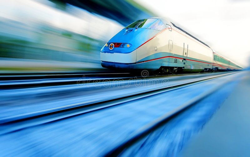 Speeding train. Front side of a train with blur effect royalty free stock photos