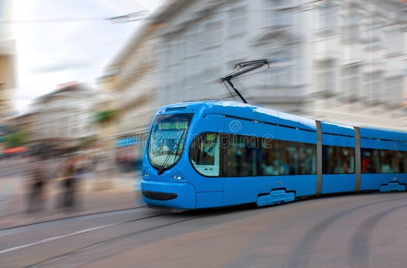 Speeding tram royalty free stock image