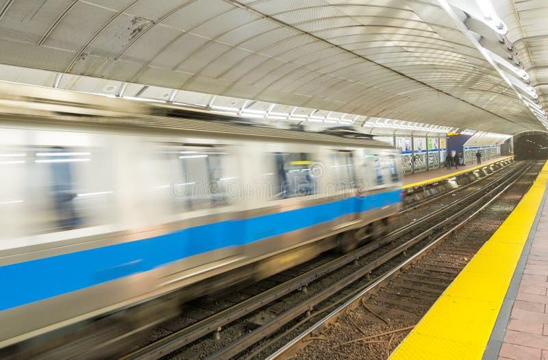 Speeding up train on subway station royalty free stock photo