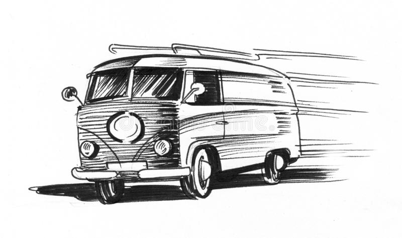 Speeding van stock illustration