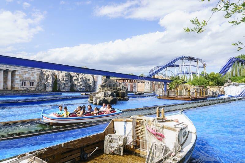 Speeding water roller coaster family fun royalty free stock images
