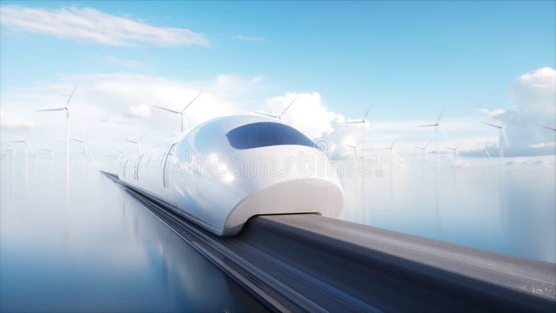 Speedly未来派单轨铁路车火车 科学幻想小说驻地 未来的概念 人们和机器人 水和风能 3d 向量例证