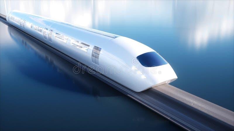 Speedly未来派单轨铁路车火车 科学幻想小说驻地 未来的概念 人们和机器人 水和风能 3d 库存例证