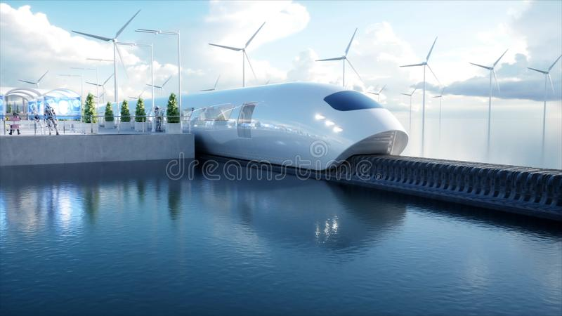 Speedly Futuristic monorail train. Sci fi station. Concept of future. People and robots. Water and wind energy. 3d. Rendering stock illustration