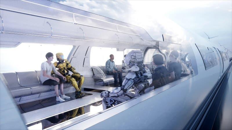 Speedly Futurystyczny jednoszynowy pociąg Sci fi stacja Pojęcie przyszłość Ludzie i roboty Wodna i wiatrowa energia 3d ilustracji
