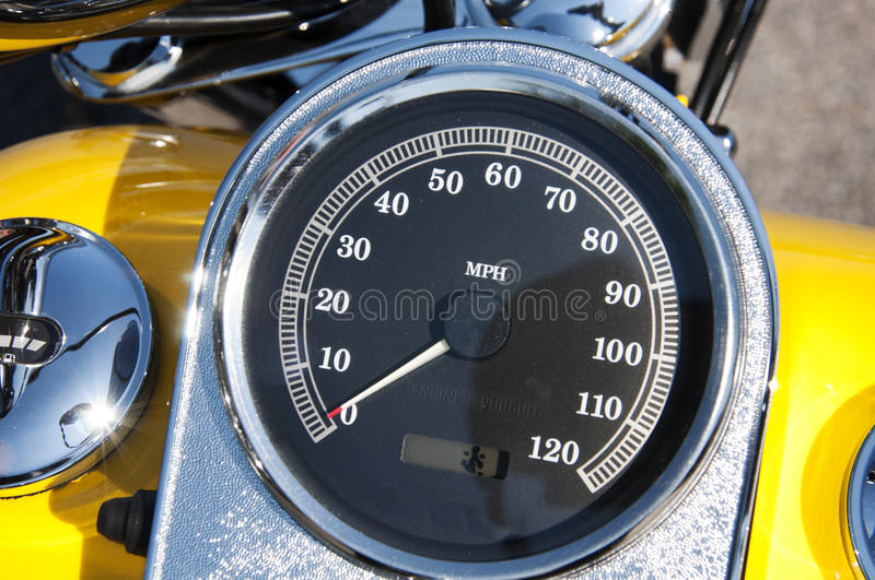 Speedometer. On motorcycle gasoline tank; from 0 to 120 MPH indicator stock images