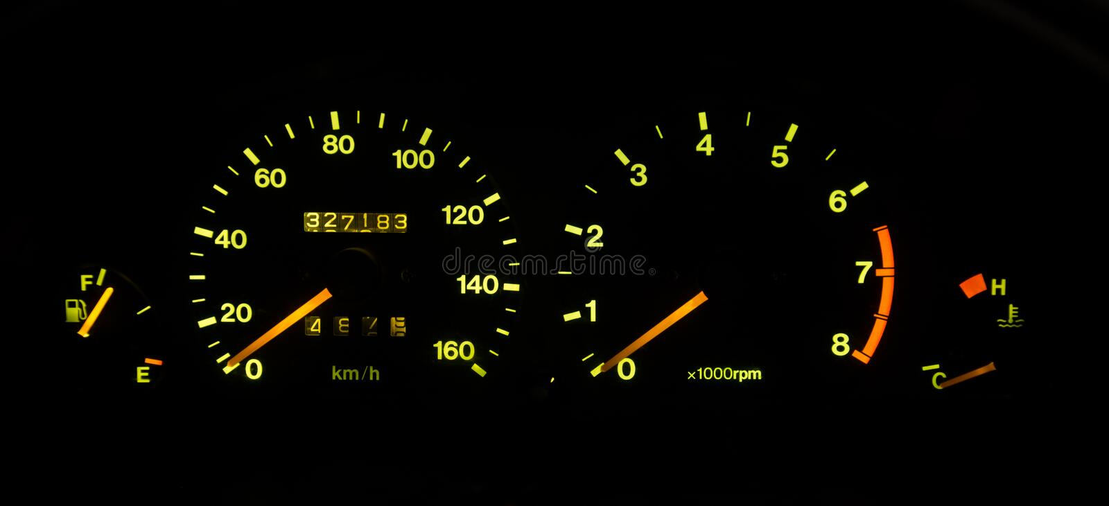 Speedometer. Is device for controlling the speed of the car stock images
