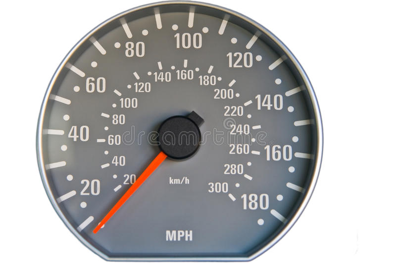 Speedometer. Closeup of a speedometer with white on grey numbers royalty free stock photo