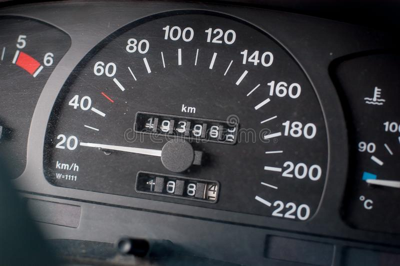 A speedometer of a car. Max speed 220 km/h stock photos