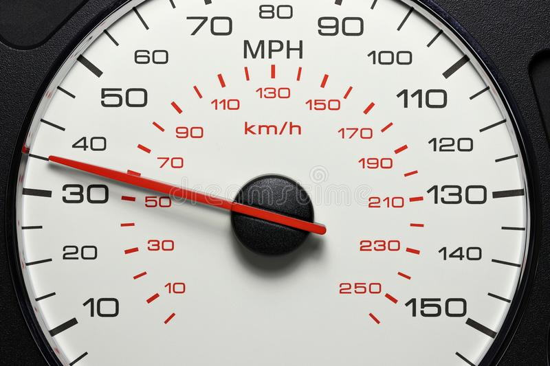 Speedometer at 35 MPH. Speedometer of a car at 35 MPH stock images
