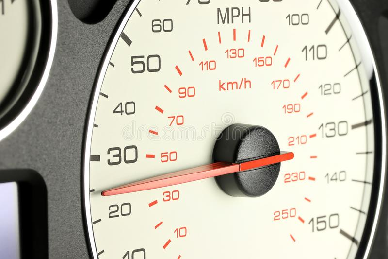 Speedometer at 25 MPH. Speedometer of a car at 25 MPH stock image