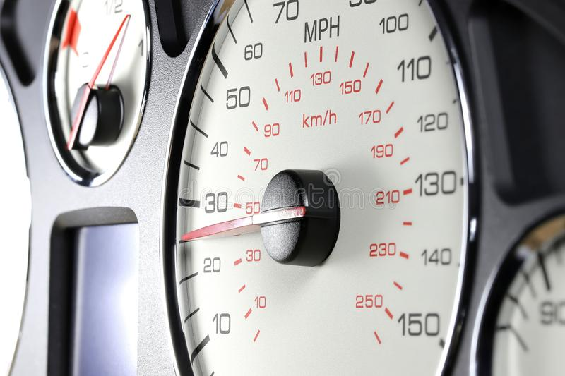 Speedometer at 25 MPH. Speedometer of a car at 25 MPH stock photo