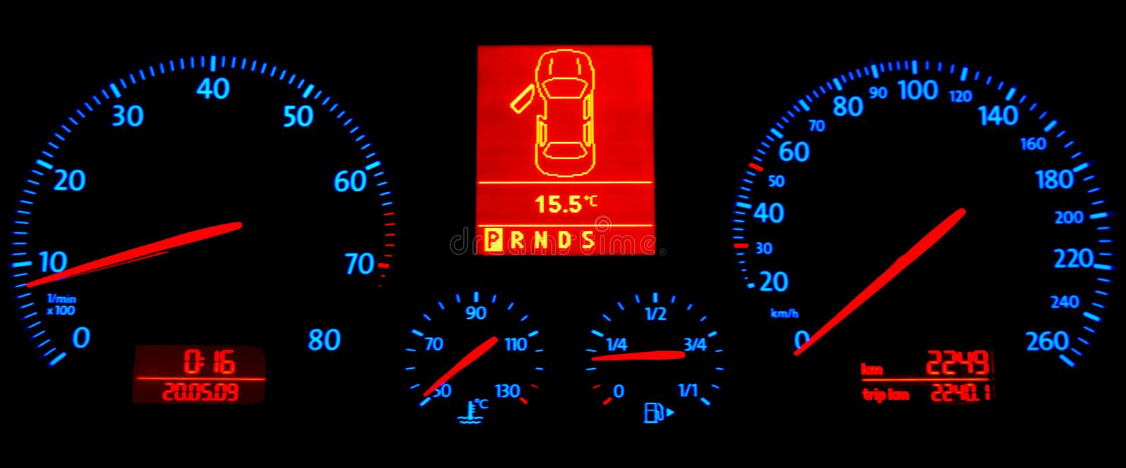 Download Speedometer In The Darkness Stock Photo - Image of darkness, level: 12160432