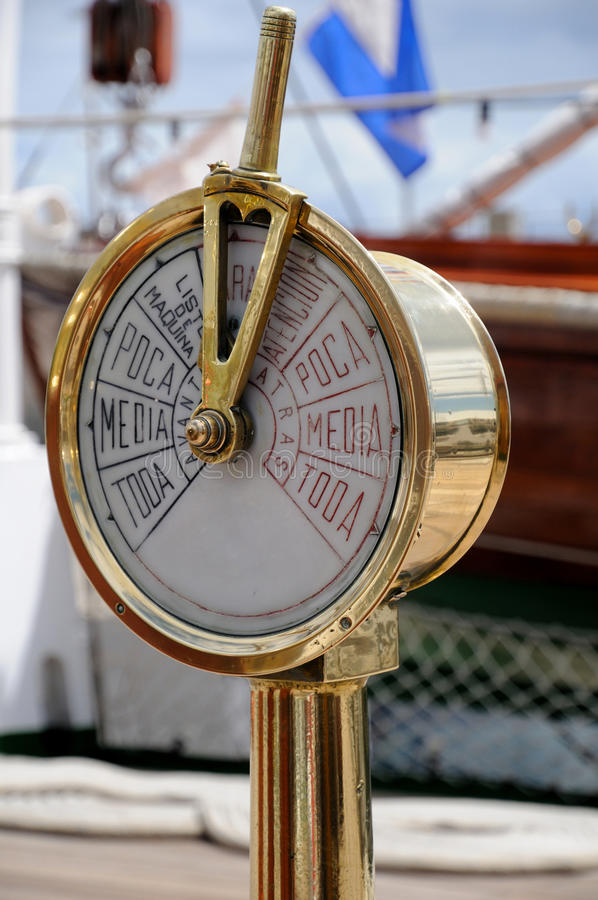Spaceship Engine Room: Speedometer On The Deck Of An Old Ship Stock Image