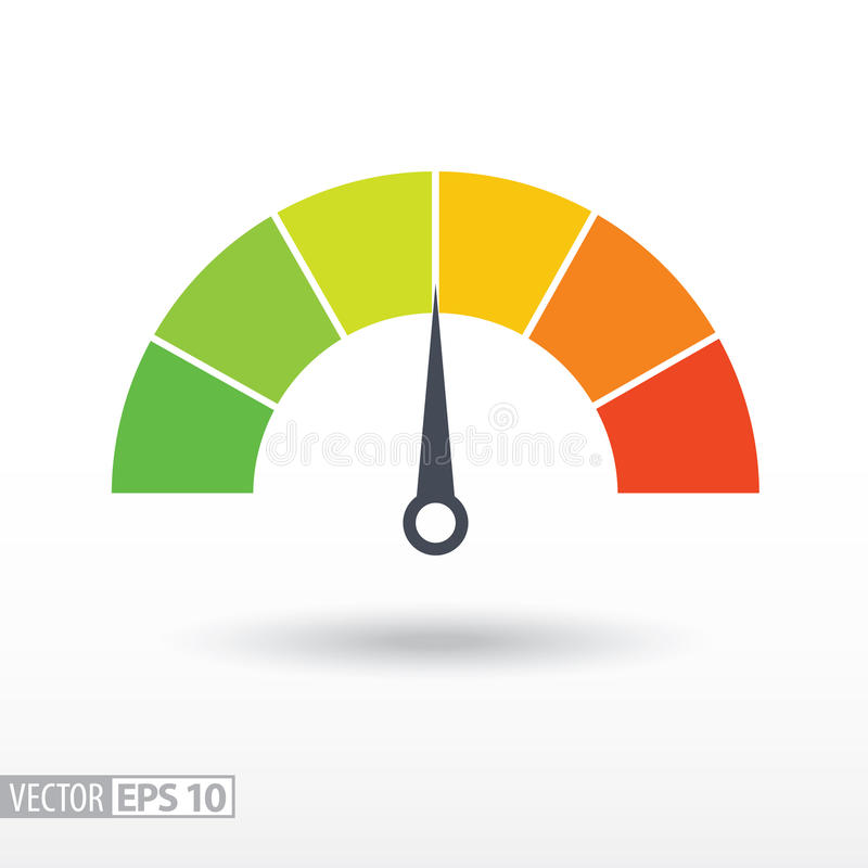 Speedometer Flat Icon. Sign Colorful Speedometer. Vector ...