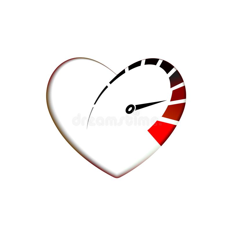 Speedometer in heart icon with arrow speed, RPM logo icon. Racing test symbol Vector Template love and Valentines day sign, emblem royalty free illustration